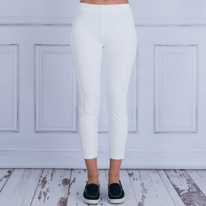 RIANI Cropped Pull On Trousers in Off White