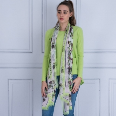 Floral Print Scarf In Cream & Green