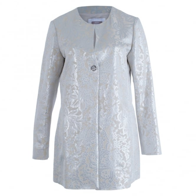 RIANI Jacquard Metallic Long Coat In Silver & Cream
