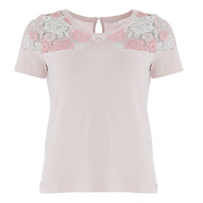RIANI Lace Top T-shirt in Baby Pink