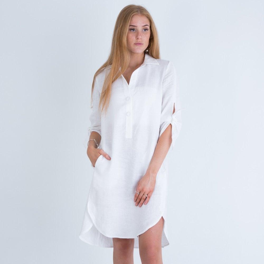 long white linen shirt dress 01521d