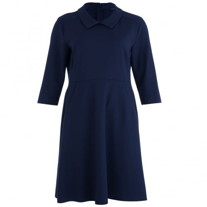 RIANI Shirt Dress With Collar And Seam Waist In Navy