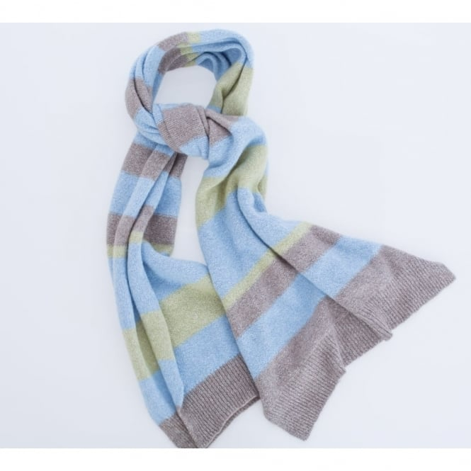 RIANI Soft Stripe Scarf To Match Cardigan In Blue, Green & Beige
