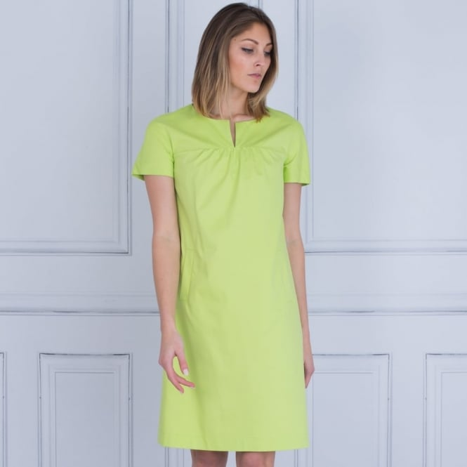 RIANI Split Front Stretch Cotton Dress With Pockets In Green