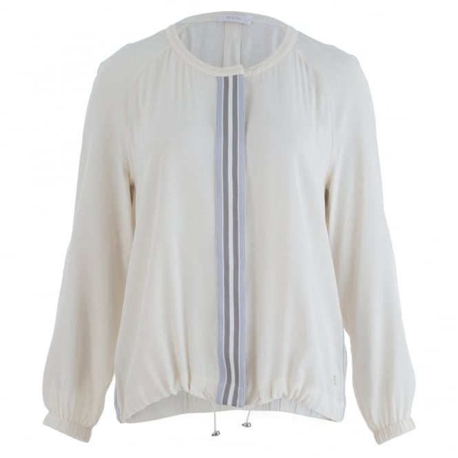 RIANI Stripe Front Bomber Jacket Blouse In Cream