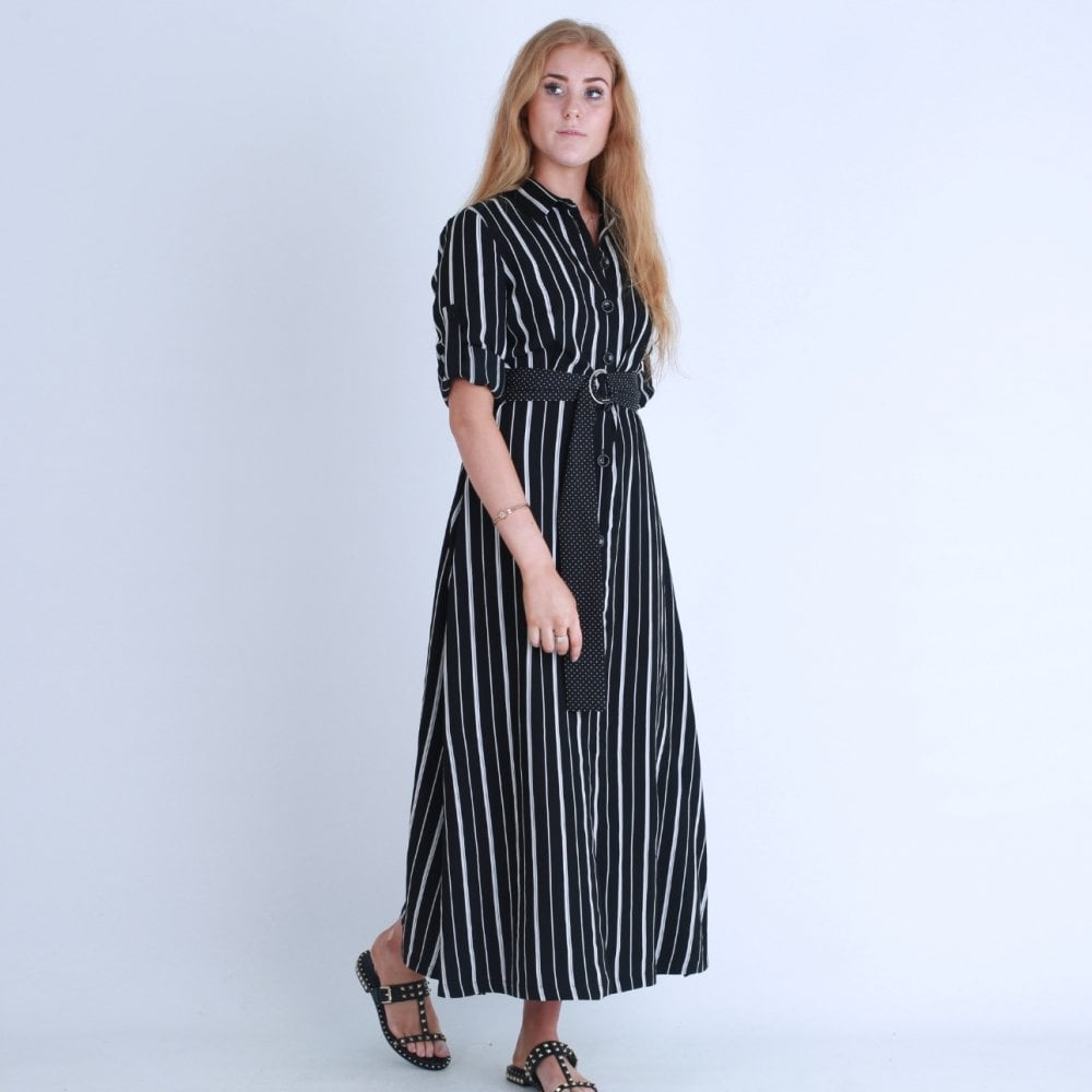 Stripe Maxi Dress With Short Sleeve In Black White