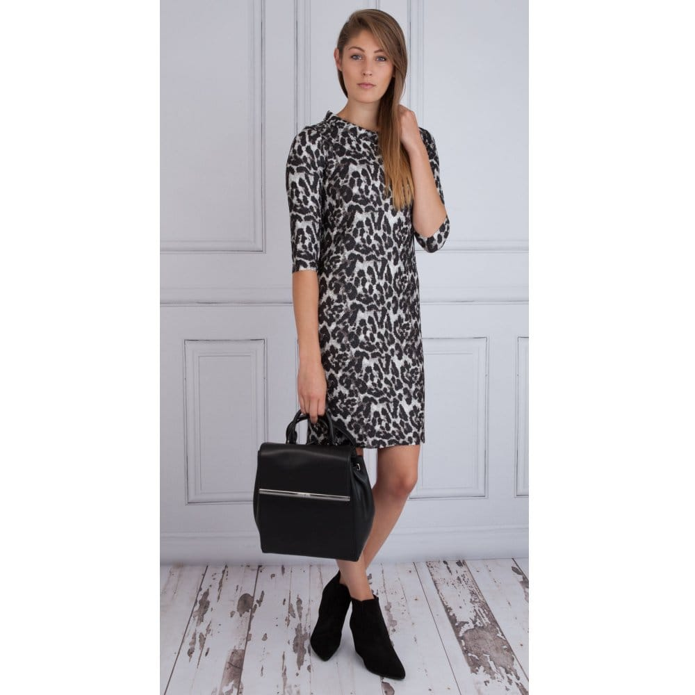 af45d52a299c Riani Textured Leopard Print Dress in Black & Grey