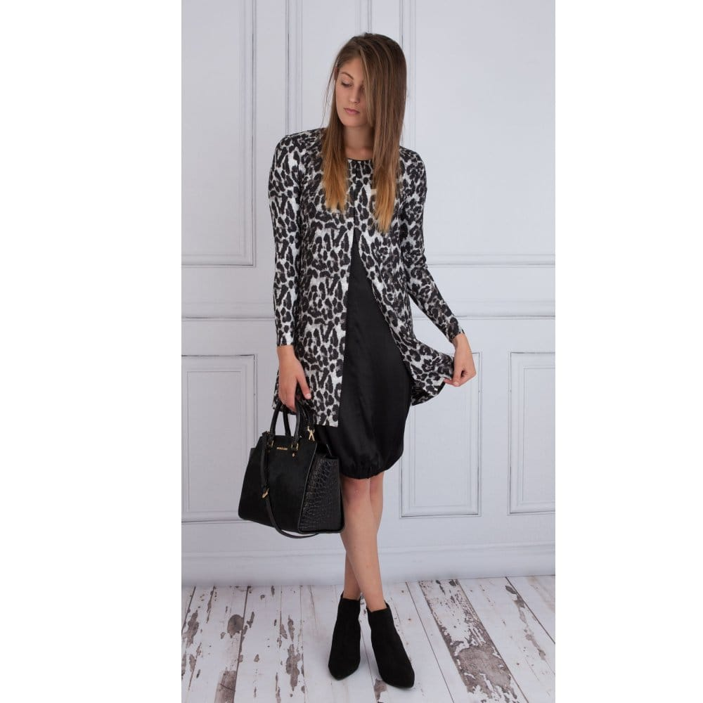 0e16907dd709 Riani Top Fasten Textured Leopard Print Coat in Black & Grey