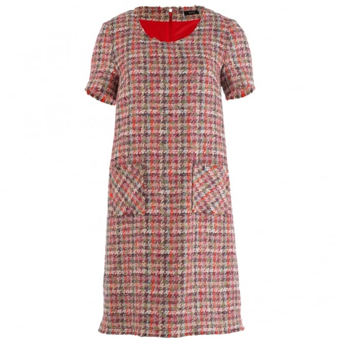 RIANI Tweed Check Frayed Edge Dress In Red, Grey & Khaki