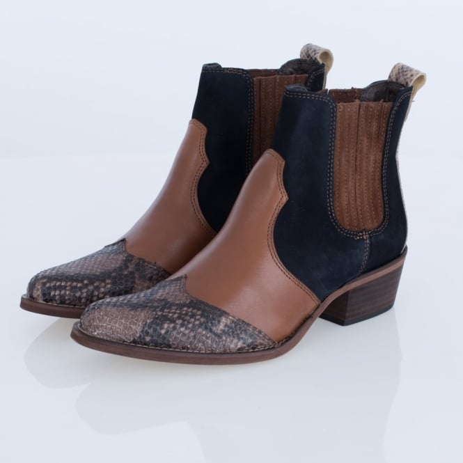 RIANI Western Style Ankle Boot In Snake, Tan & Navy