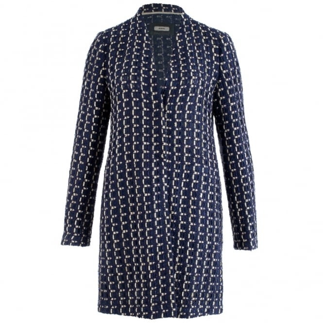 RIANI Woven Long Coat In Navy & Cream