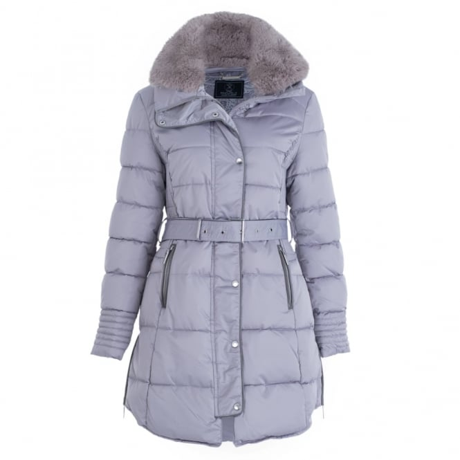 RINO & PELLE Belted Puffa Coat With Faux Fur Trim In Silver Rose