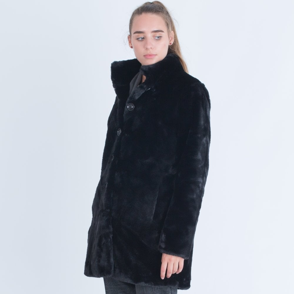 7a5c69796 RINO & PELLE Rino & Pelle Faux Fur Coat With Nerhu Collar Black