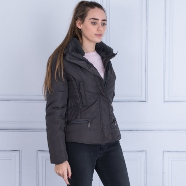 Fitted Puffa Jacket With Elsaticated Side In Dark Grey