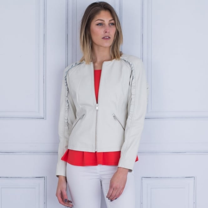 RINO & PELLE Leather Jacket With Frill Sleeve In Off White