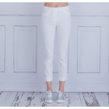 Bella 09 Pull On Cotton Content Pant with Turn up in White 51533 54288