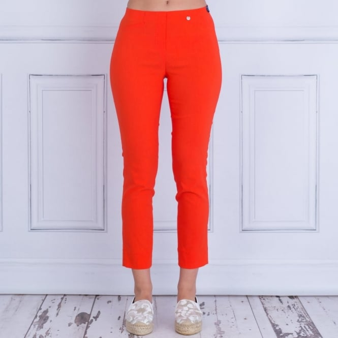 ROBELL Rose 09 68cm Narrow Leg Capri Pant In 321 Orange 51527 5499