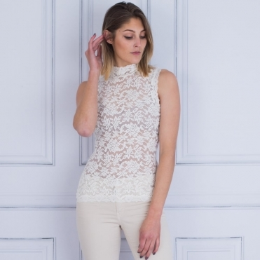 Delicia Polo Neck Sleeveless Lace Top In Ivory