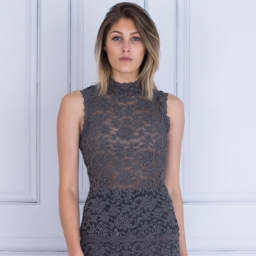 Delicia Polo Neck Sleeveless Lace Top In Plum/Grey