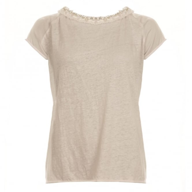 PINKO Ruffle Diamonte Scoop Neck Top in Cream