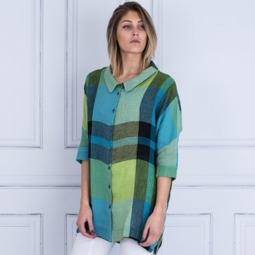 Check Oversized Shirt In Green/Blue