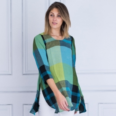 Check Oversized Split Wide Tunic In Green/Blue