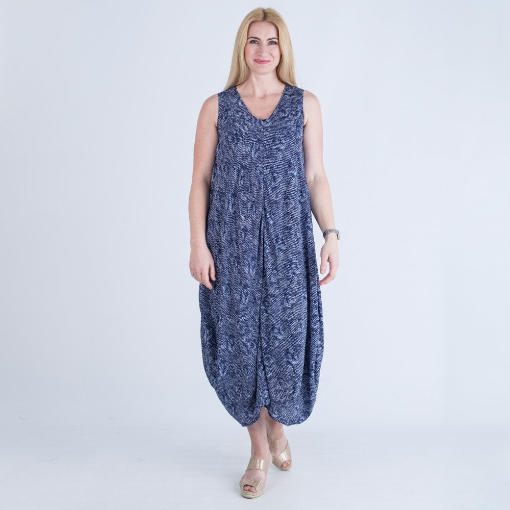 191273703c Sahara Cocoon Hem Dress Navy White