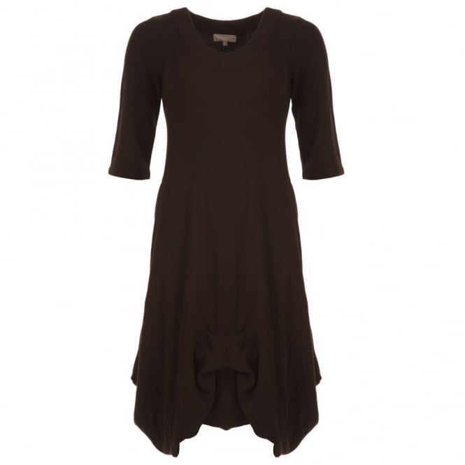 SAHARA Crepe Jersey Tuck Hem Dress in Black
