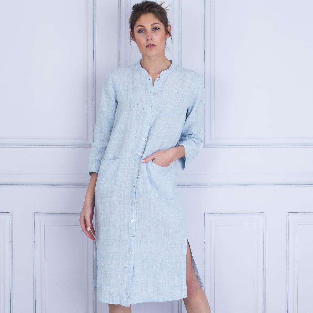816497dc0a4 Sahara Fleck Linen Shirt Dress Light Blue