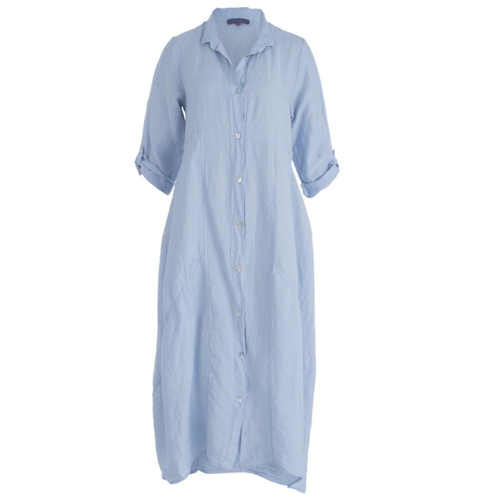 f66dfee7dbc Sahara RED1425-SL Long Linen Shirt Dress In Ice