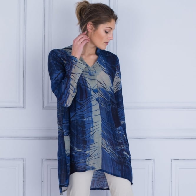SAHARA Pleat Front Printed Blouse In Blue & Grey