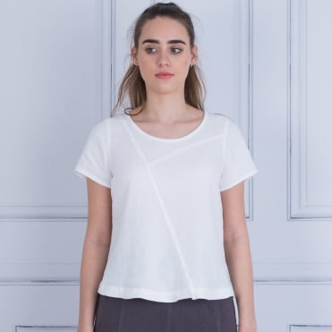 Sahara Round Neck Short Sleeve Linen T-shirt White