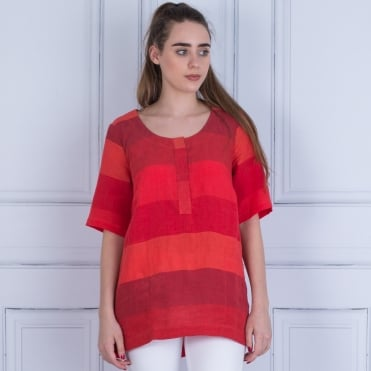 Sahara Striped Short Sleeve Top Red Multi