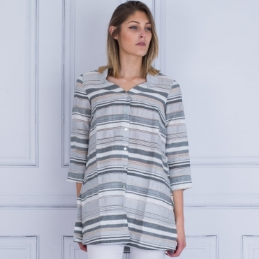 Striped Tunic Jacket In Silver