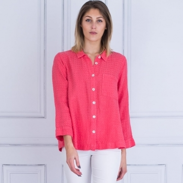 Waffle Linen Shirt Jacket With Pleat Back In Pomegranate