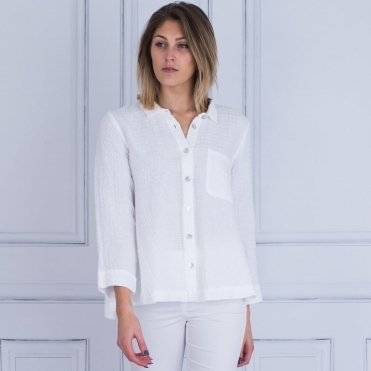 Waffle Linen Shirt Jacket With Pleat Back In White