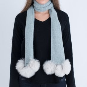 c0099b98d8c46 Samantha Holmes Frosted Alpaca Scarf With Fur Pom Poms Duck Egg Blue
