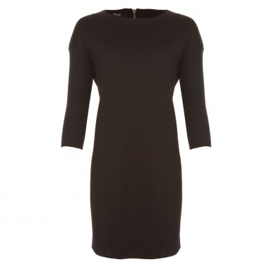 Loose Bodied Dress with Knitted Sleeves in Black