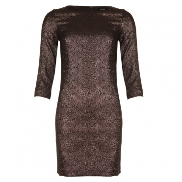 Metallic Fitted Dress With Side Stripe in Bronze