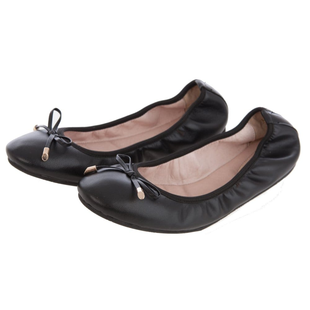 8d9c918fc46eb Sargossa Footwear Benefit Ballet Pump with bow detail front in Black