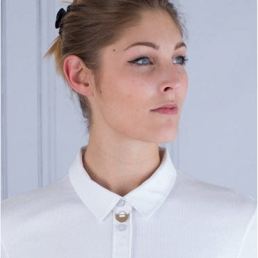 Crescent Semi Circle Shirt Necklace In Gold & White