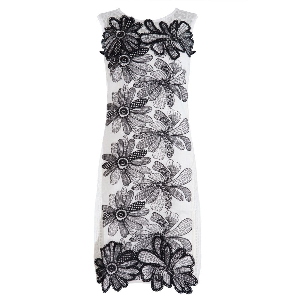 Save The Queen Linen And Lace Dress With Black Flowers In Cream Black