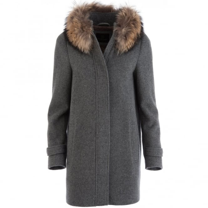 Cocoon Coat with Fur Neck Collar in Charcoal Grey