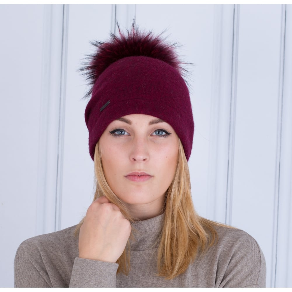 Seeberger Boiled Wool Hat With Fur Pompom In Burgundy