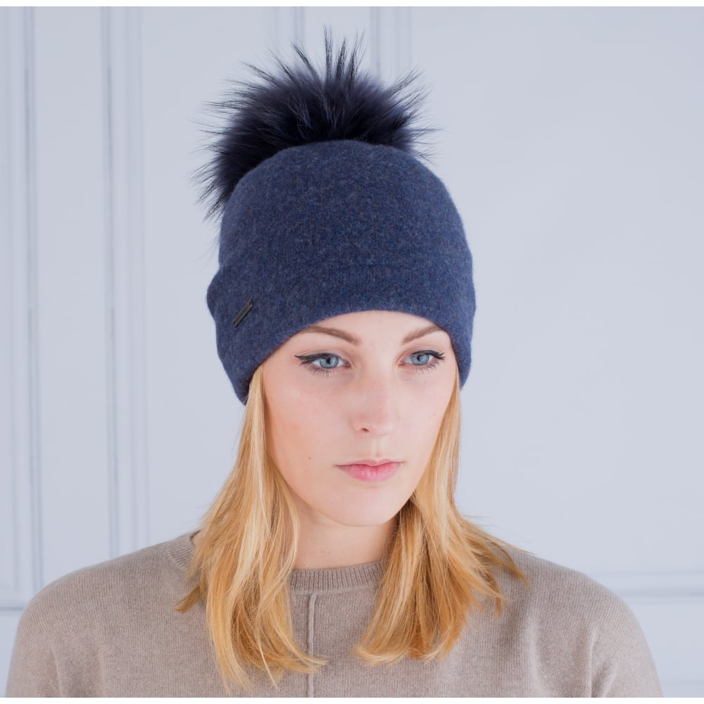 Seeberger Boiled Wool Hat With Fur Pompom In Jeans Blue 5e1fcce1435