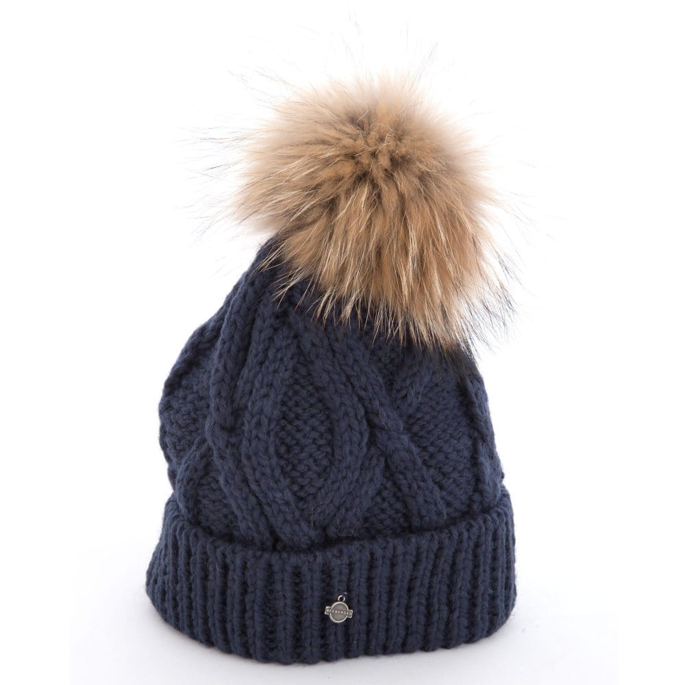 9859e831723 Seeberger Cable Knit Hat with Contrast Fur Pompom in Navy