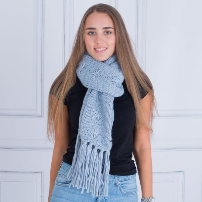 SEEBERGER Cable Scarf With Diamonte in Light Blue
