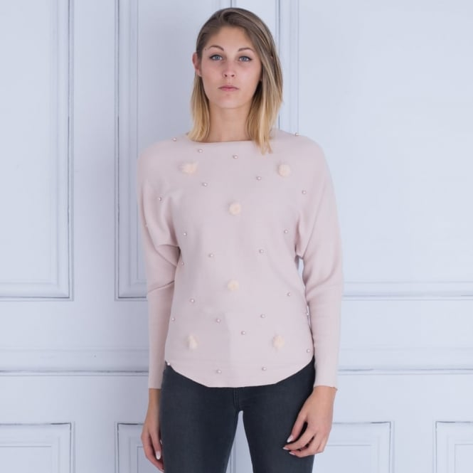 SMF Pearl Fur And Pom Pom Jumper in Pink