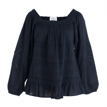 Cotton Pleat And Embroided Square Neck Blouse In Black