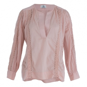 Embroided Cotton Blouse In Blush